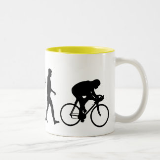 Cyclists Cycling evolution Bicycle Riders Two-Tone Mug