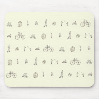 Cyclists on Quirky Bikes Funny Line Drawing Design Mouse Mat