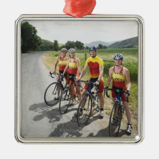 Cyclists posing on country road Silver-Colored square decoration