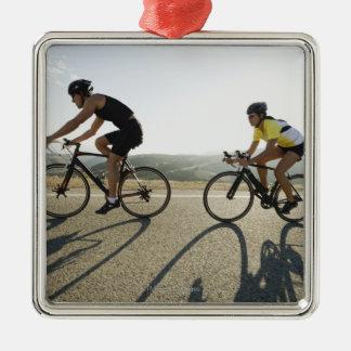 Cyclists road riding in Malibu Silver-Colored Square Decoration