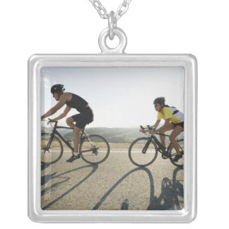 Cyclists road riding in Malibu Silver Plated Necklace