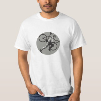 Cyclocross Athlete Carrying Bicycle Circle Retro T-Shirt