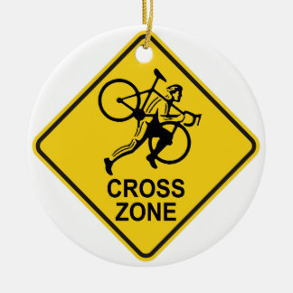 Cyclocross Zone Road Sign Christmas Ornament