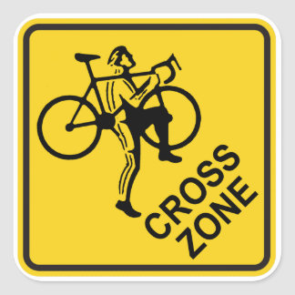 Cyclocross Zone Road Sign Square Sticker
