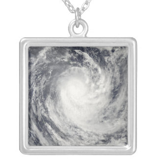 Cyclone Rene over the South Pacific Ocean Silver Plated Necklace