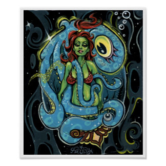 'Cycloptopus' art print - (pop surreal pin-up)