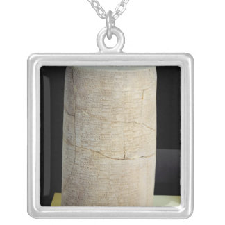 Cylinder B with a votive inscription Silver Plated Necklace