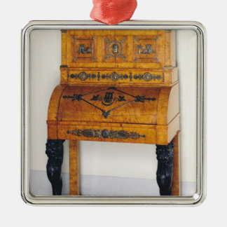 Cylinder front writing desk Silver-Colored square decoration