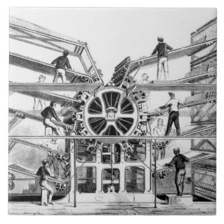 Cylinder printing press invented by Richard March Large Square Tile
