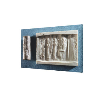 Cylinder seal depicting an evocation to the canvas print