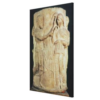 Cylindrical altar depicting sacrifice of Alceste Canvas Print