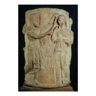 Cylindrical altar depicting sacrifice of Alceste Poster