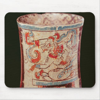 Cylindrical depicting a deity with speech curls mouse mat