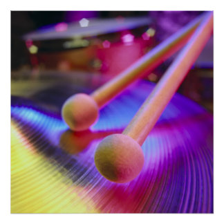Cymbal & Round Tip Drum Sticks Poster