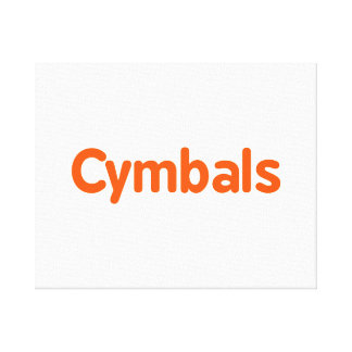 cymbals text d orange stretched canvas print