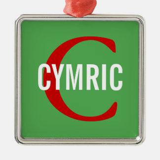 Cymric Cat Monogram Design Silver-Colored Square Decoration