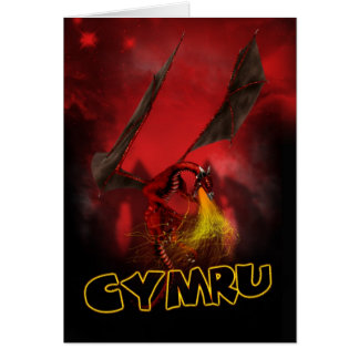 Cymru - St David s Day Card - Welsh Red Dragon Ca