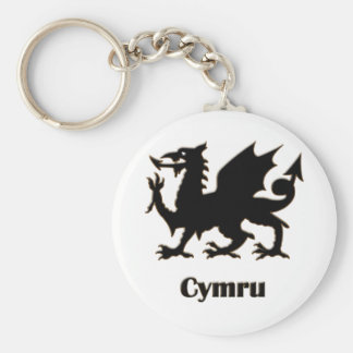 Cymru, Wales Basic Round Button Key Ring