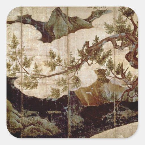 Cypress by Kano Eitoku, Muromanchi period Sticker