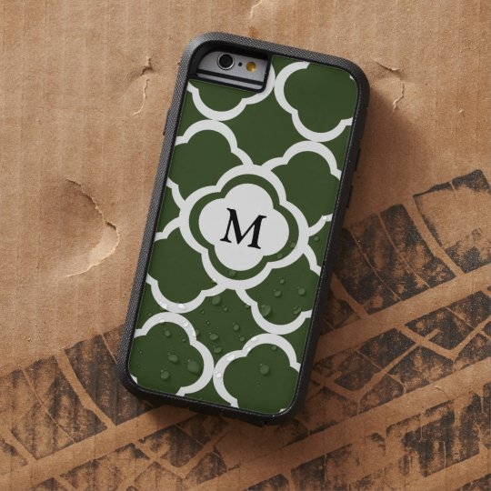 Cypress Green and White Quatrefoil Monogram Tough Xtreme iPhone 6 Case