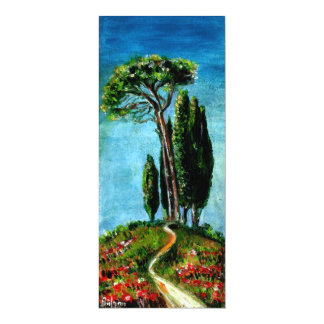 CYPRESS TREES AND MEDITERRANIAN PINE IN TUSCANY 10 CM X 24 CM INVITATION CARD