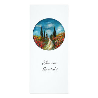 CYPRESS TREES AND POPPIES IN TUSCANY, red blue 10 Cm X 24 Cm Invitation Card