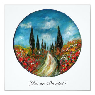 CYPRESS TREES AND POPPIES IN TUSCANY, red blue 13 Cm X 13 Cm Square Invitation Card