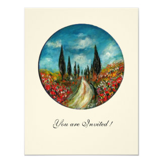 CYPRESS TREES AND POPPIES IN TUSCANY,red blue felt 11 Cm X 14 Cm Invitation Card