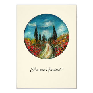 CYPRESS TREES AND POPPIES IN TUSCANY,red blue felt 13 Cm X 18 Cm Invitation Card