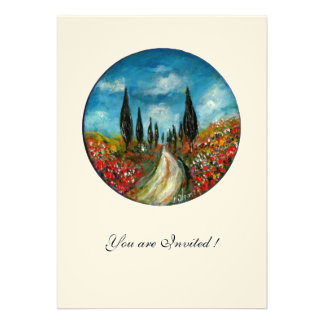CYPRESS TREES AND POPPIES IN TUSCANY red blue felt Invitation