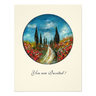 CYPRESS TREES AND POPPIES IN TUSCANY red blue felt Invites