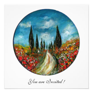 CYPRESS TREES AND POPPIES IN TUSCANY red blue Invitations