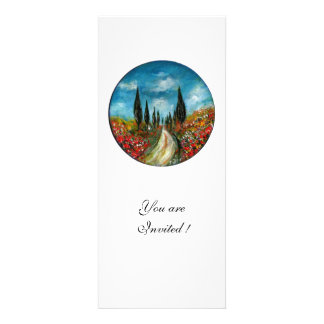 CYPRESS TREES AND POPPIES IN TUSCANY red blue Personalized Invitation