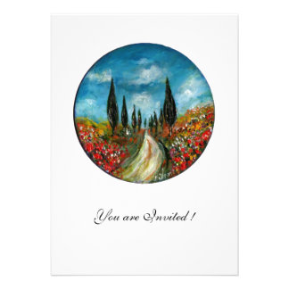 CYPRESS TREES AND POPPIES IN TUSCANY red blue Announcements