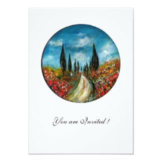 CYPRESS TREES AND POPPIES IN TUSCANY, red blue Announcements