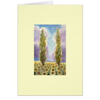 Cypress Trees in Sunflower Field Greeting Card