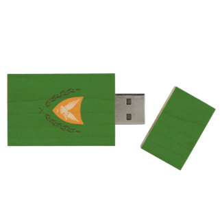 Cypriot coat of arms wood USB 2.0 flash drive