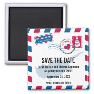 Cyprus Air Mail Wedding Save the Date Square Magnet