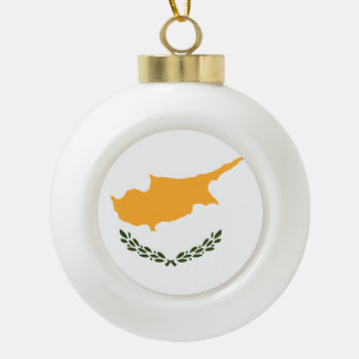 Cyprus Flag Ceramic Ball Christmas Ornament