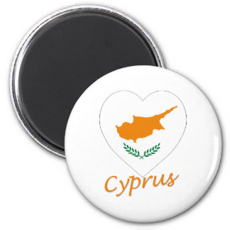 Cyprus Flag Heart 6 Cm Round Magnet