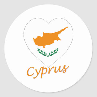 Cyprus Flag Heart Classic Round Sticker