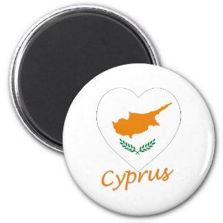 Cyprus Flag Heart 6 Cm Round Magnet