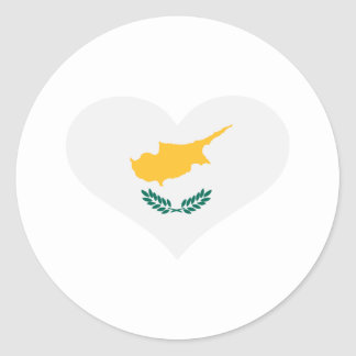 Cyprus flag heart round stickers