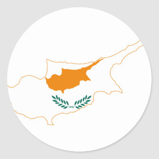 Cyprus Flag map CY Classic Round Sticker