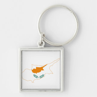 Cyprus Flag map CY Key Ring