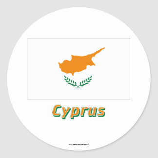 Cyprus Flag with Name Classic Round Sticker