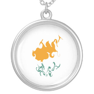 Cyprus Gnarly Flag Round Pendant Necklace