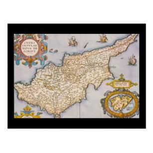 Cyprus map antique world engraving postcard