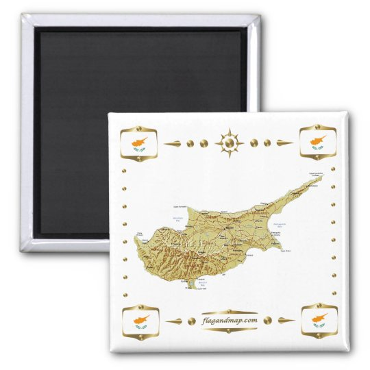 Cyprus Map + Flags Magnet