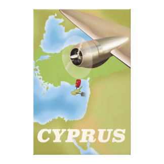 Cyprus map vintage travel poster canvas print